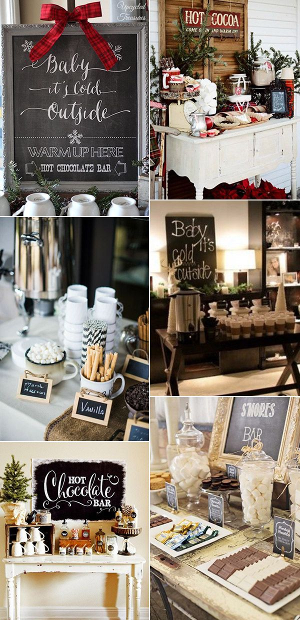 hot chocolate and coffee bar for winter wedding ideas