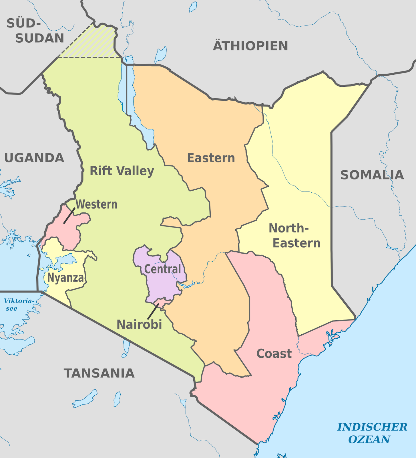 Mapa Politico Do Quenia Kenya Rift Valley Map