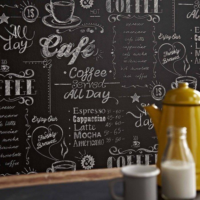 Vliestapete Küche Coffee Shop black & white | Tapeten online kaufen ...