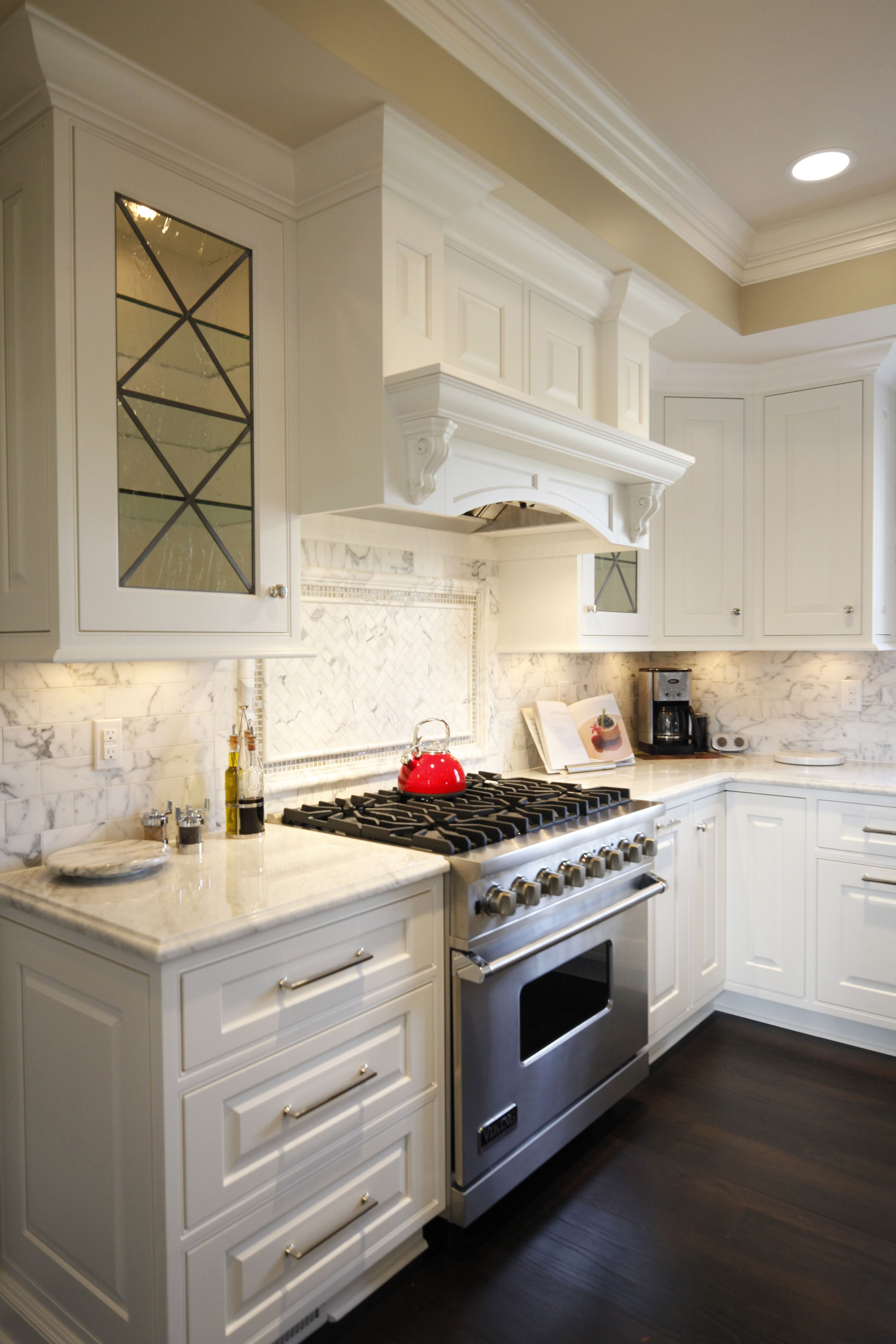 Stainless Steel Appliances, White Cabinets, Grabill Cabinets, Dark Hardwood  Flooring