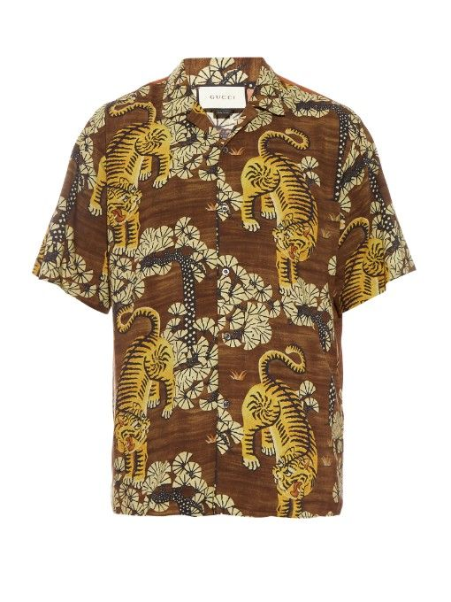f9da58e3 GUCCI Tiger Print Short-Sleeved Shirt. #gucci #cloth #shirt | Gucci ...