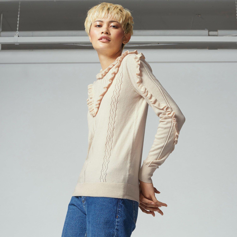 Warehouse, Frill Pointelle Jumper Stone 1 | Winter fashion ...