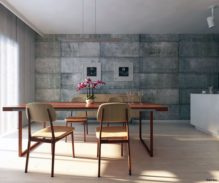Or concrete wall behind dining table Utilitarian Dining Room