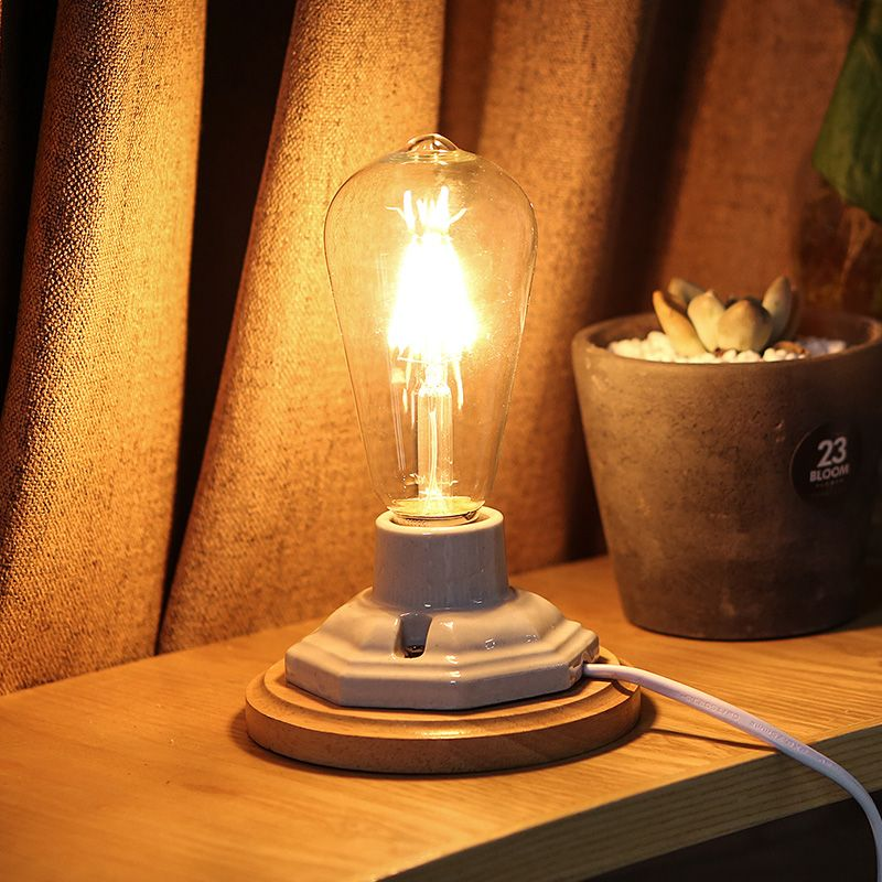 Find more table lamps information about modern table lamp wooden base book lights e27 holder vintage bedside lamp for home bedroom light fixtures desk night