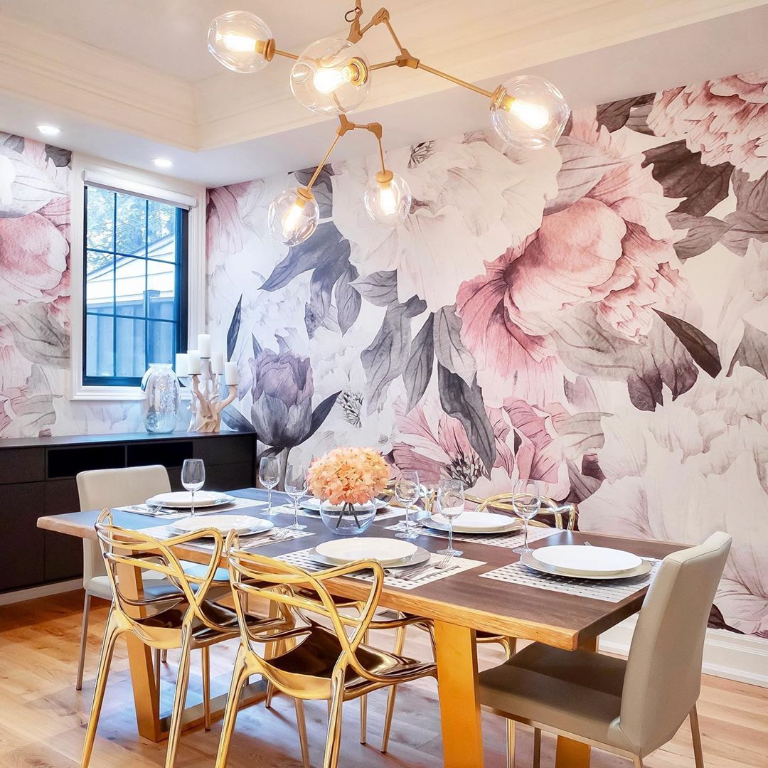 Katie S Wallpaper Installation On Instagram Floral Dining Room Love The Versatility Of The Dining Room Accent Wall Dining Room Wallpaper Dining Room Accents