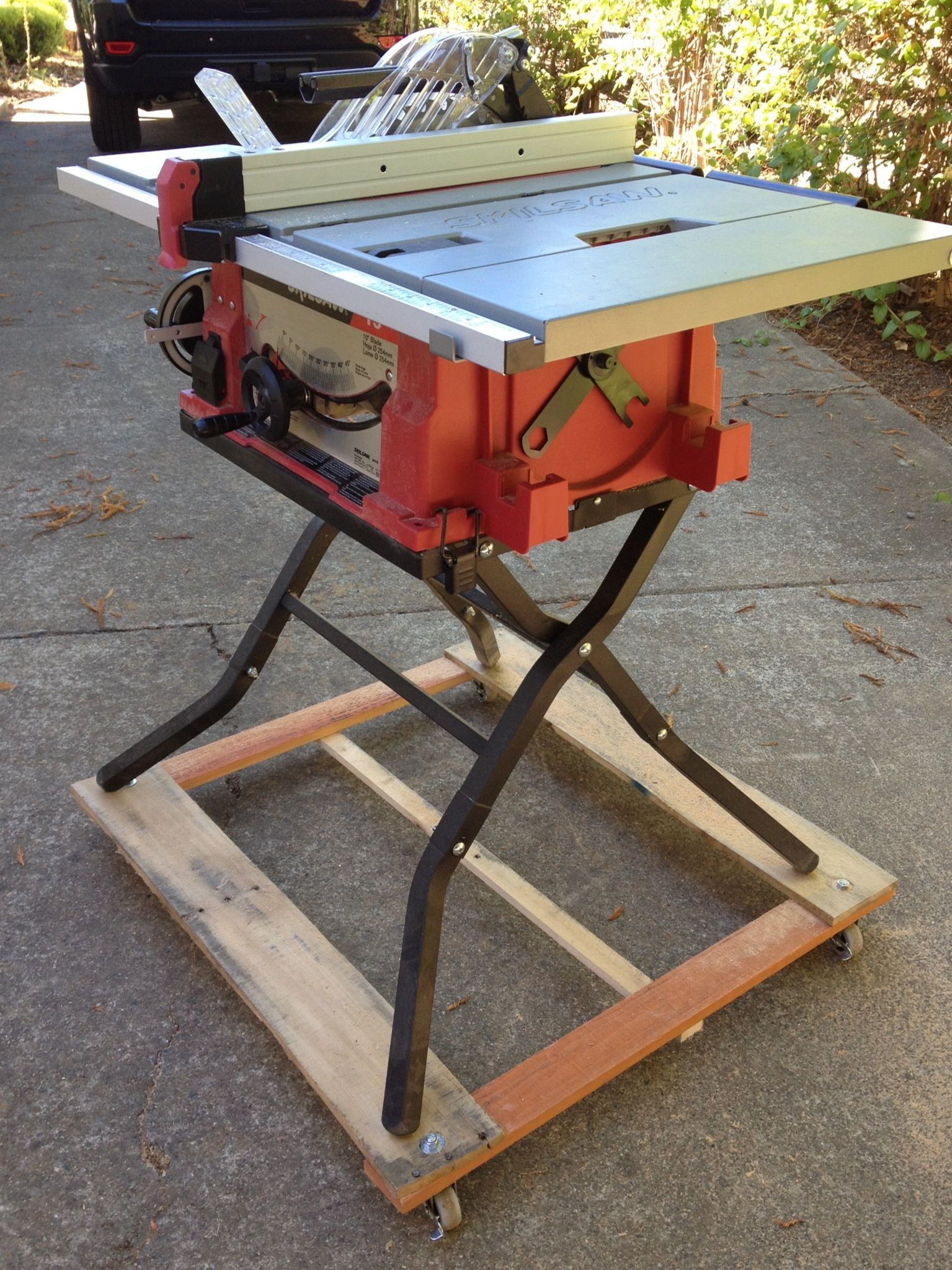 I Built This Base For My Table Saw Easier Mobility In The Work Made From Pallet Ss And Caster Locking Wheels Diy