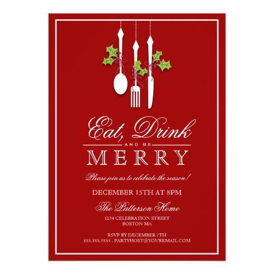 Eat Drink  Be Merry Christmas Holiday Party Card Holiday party