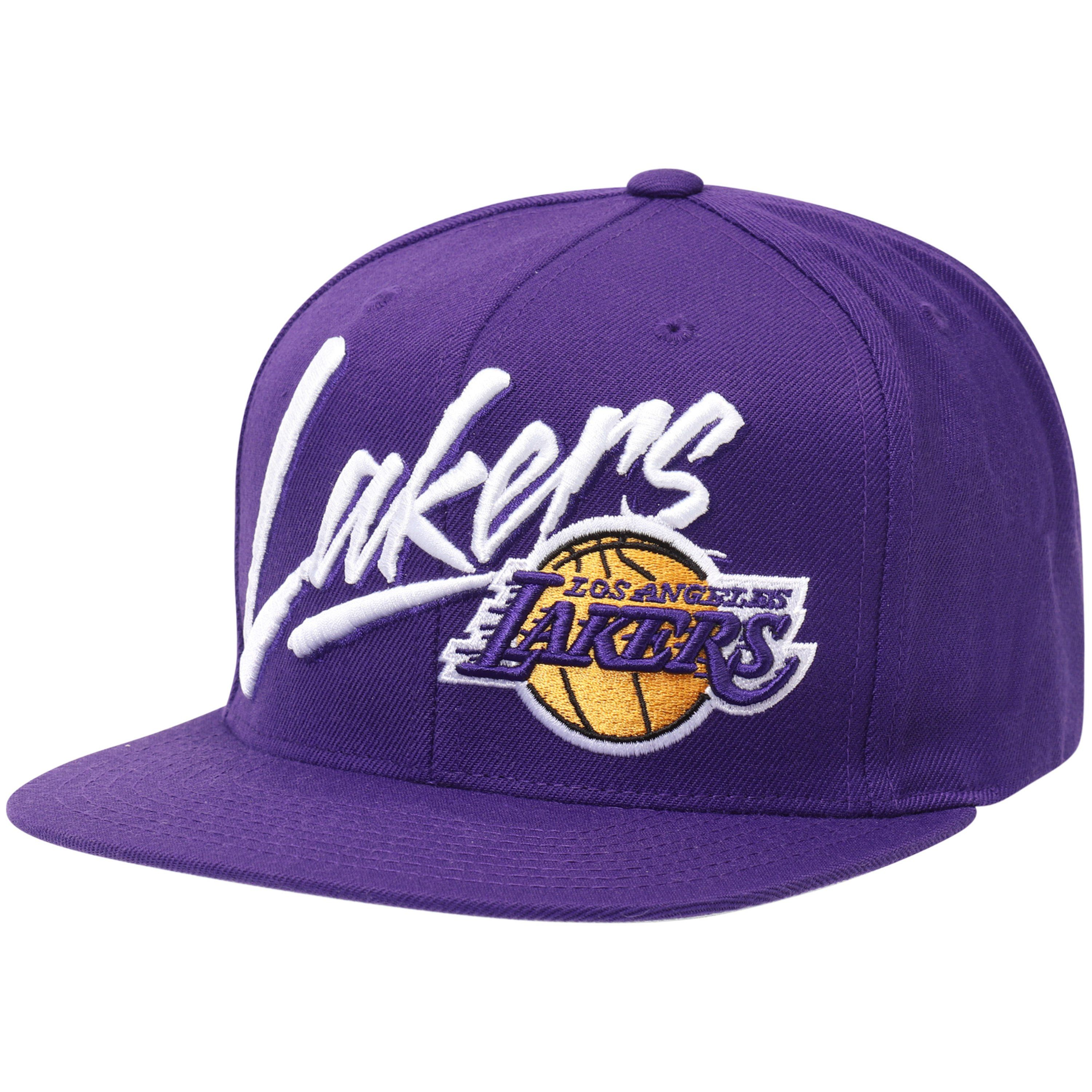 bf03fddf789 Los Angeles Lakers Mitchell   Ness Vice Script Solid Snapback Hat - Purple