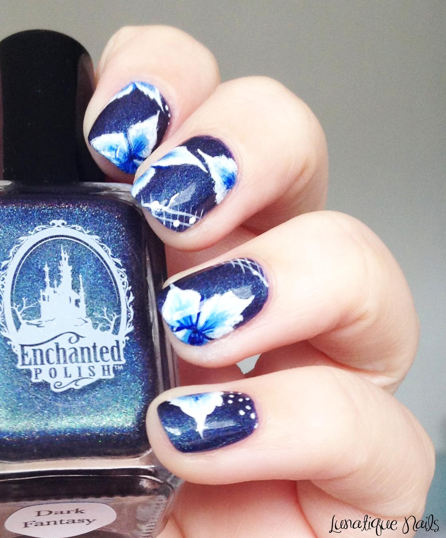 Nail Art // Blue Flowers - One Stroke sur \'Dark Fantasy\' d\'Enchanted ...