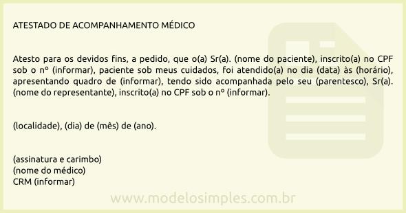 Modelo de Atestado de Acompanhamento Médico