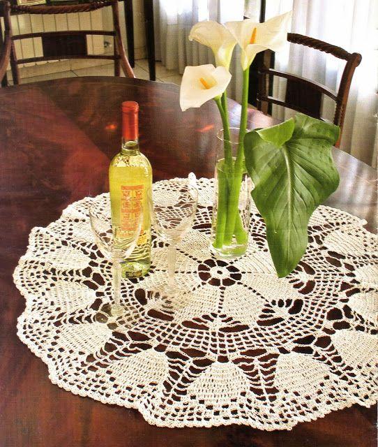 tejidos artesanales en crochet: carpeta redonda tejida en crochet