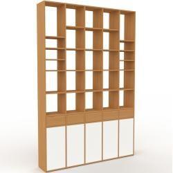 Photo of Wohnwand Eiche – Individuelle Designer-Regalwand: Schubladen in Eiche & Türen in Weiß – Hochwertige