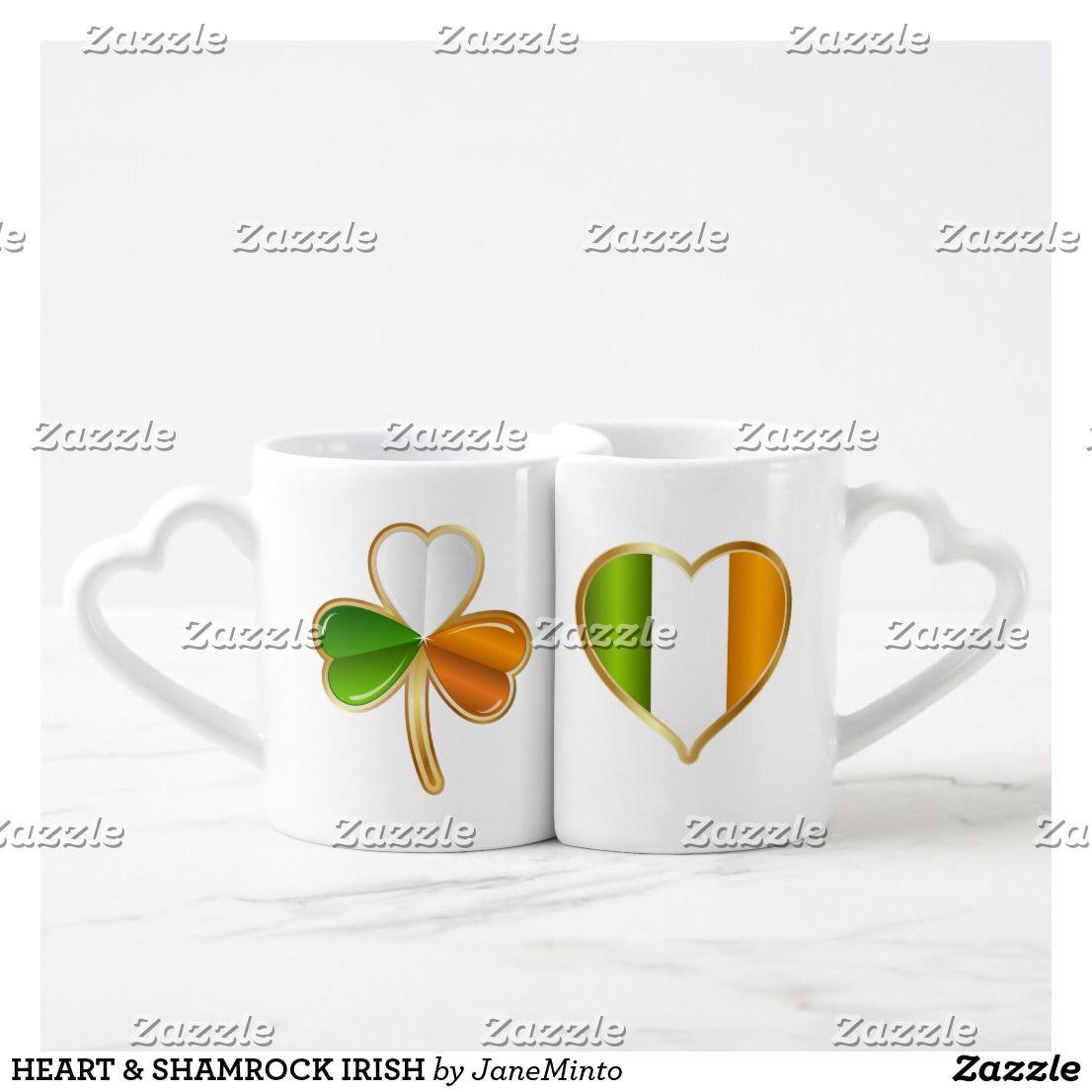 HEART & SHAMROCK IRISH COFFEE MUG SET