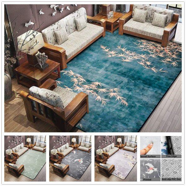 3D Plum Flower Carpet for Parlor Crane Printed Living Room