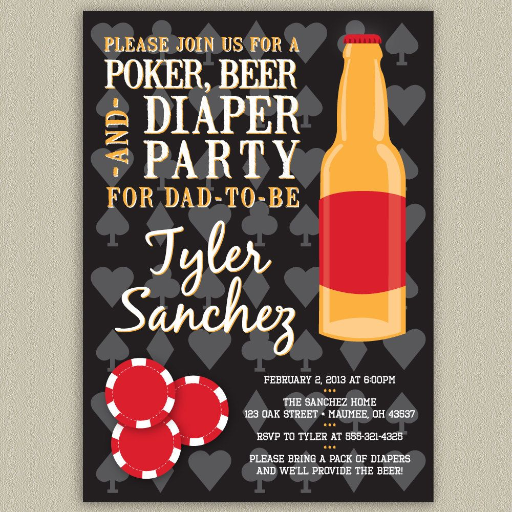 diaper party invitation - couples baby shower invitation - beer, Party invitations