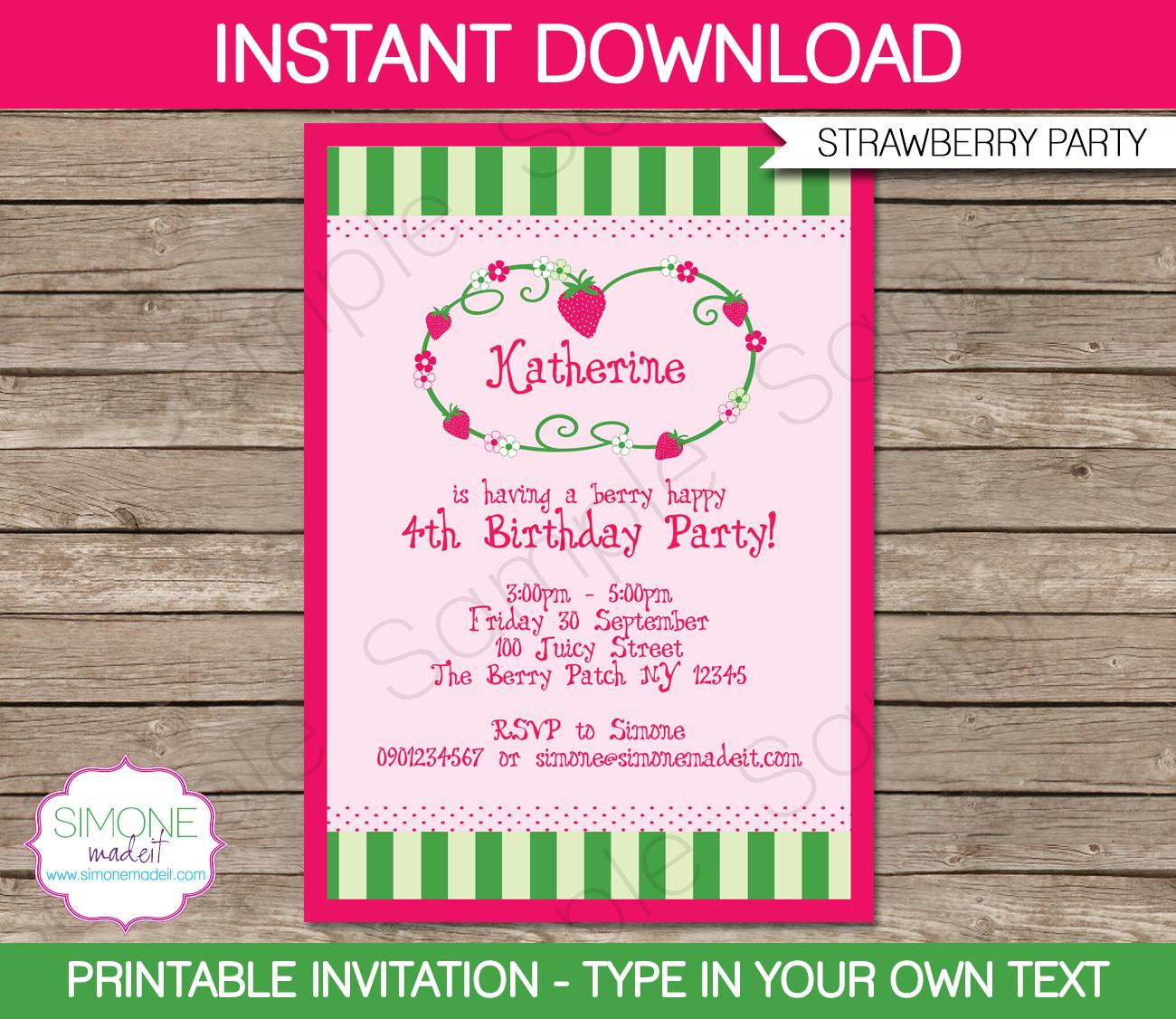 strawberry birthday invitation - HD1300×1126
