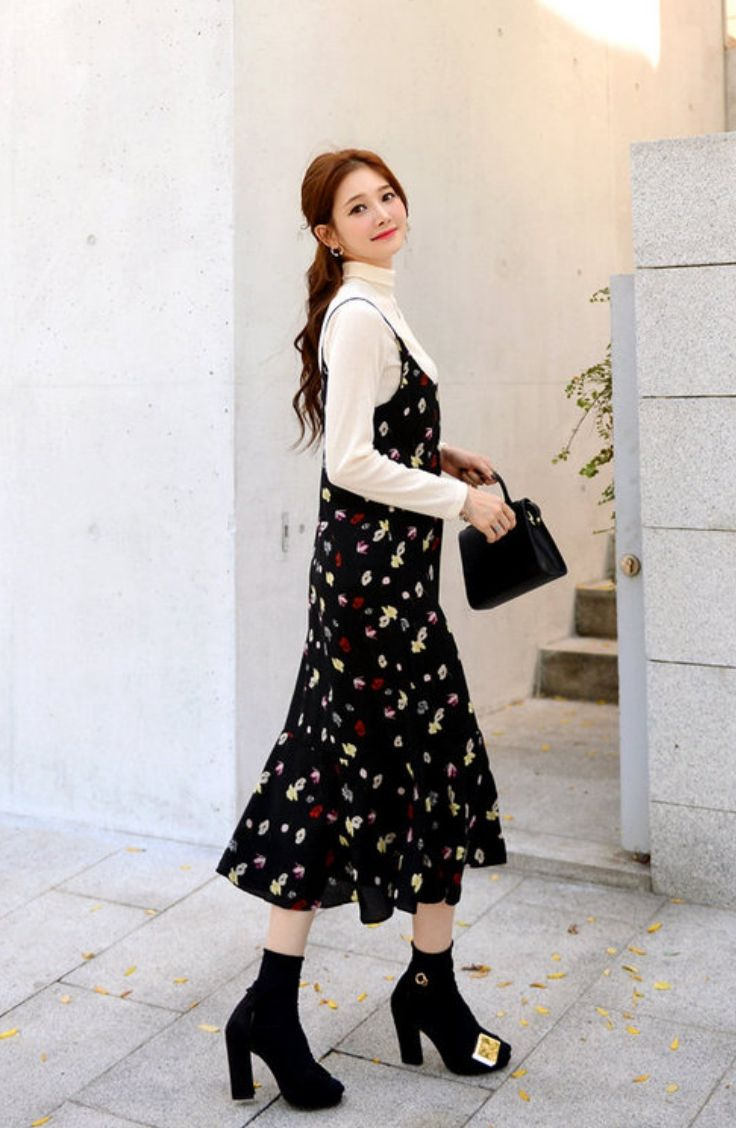 Deepny spaghettistrap floral pattern long dress koreanfashion