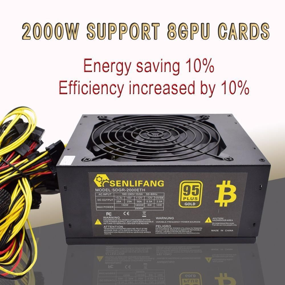 Asic Bitcoin New Gold Power 2000W Plus Btc Power Supply Atx