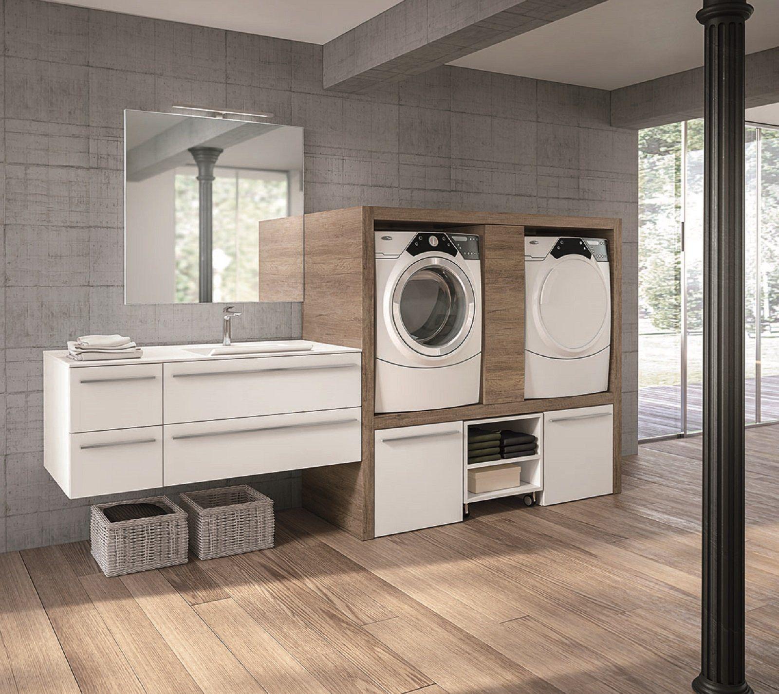 Lavanderia In Bagno Cose Di Casa Con Mobile Per Lavatrice E