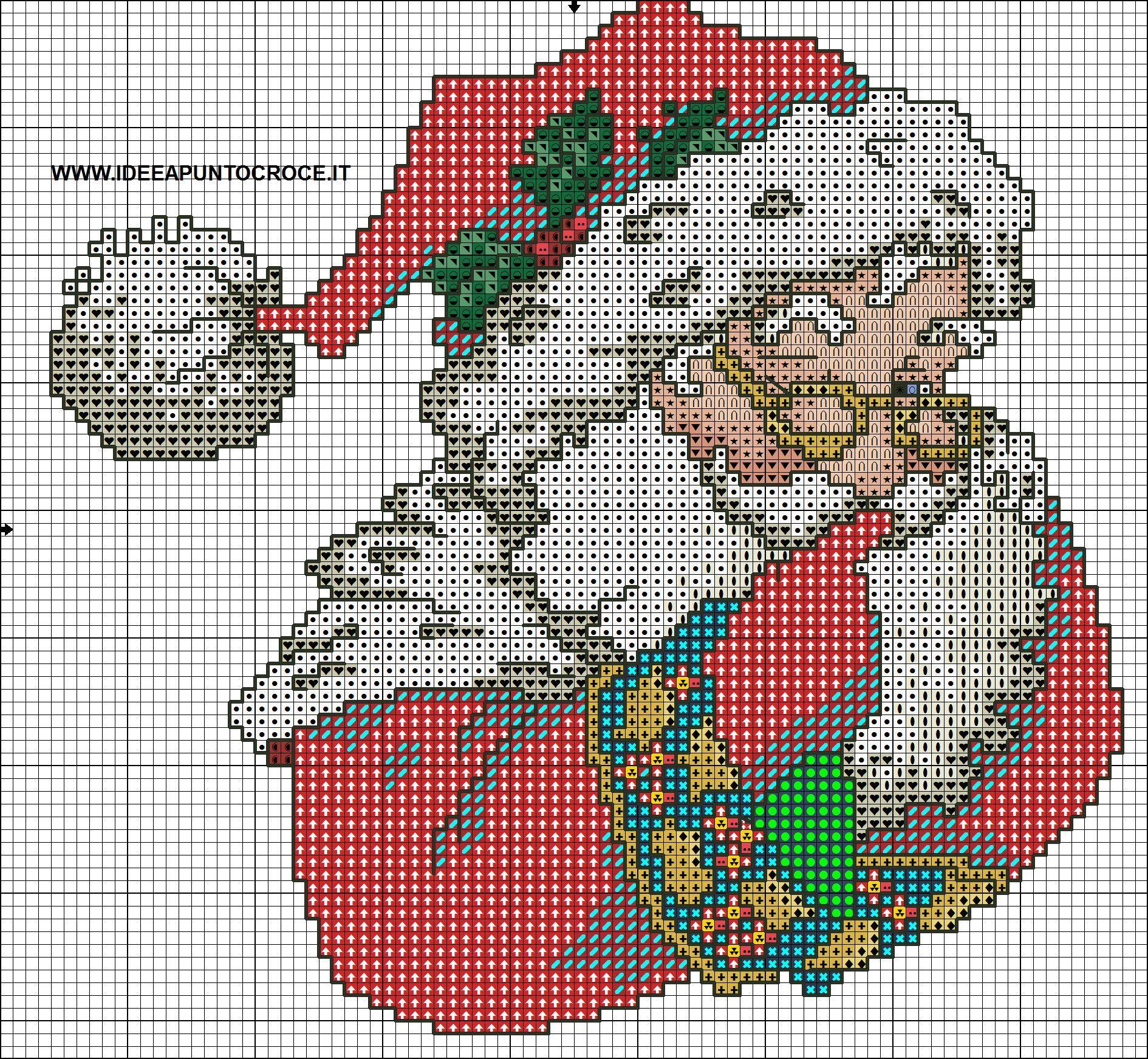 Assez Cross-stitch Santa, part 1.. color chart on part 2 SCHEMA BABBO  EH12