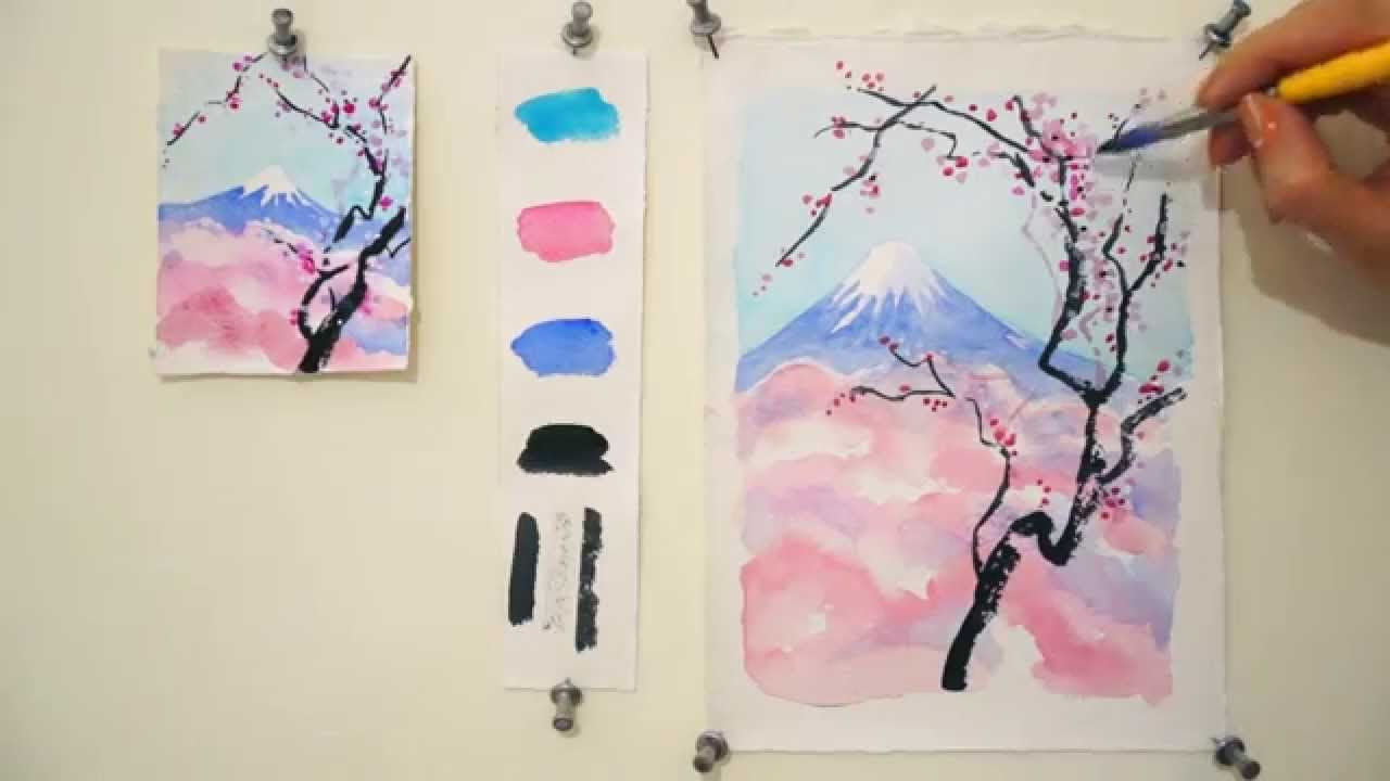 Step By Step Watercolor Tutorial Cherry Blossom And Mount Fuji