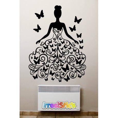 stickers danseuse avec une robe en papillons id e deco pinterest stickers chambre et papillon. Black Bedroom Furniture Sets. Home Design Ideas