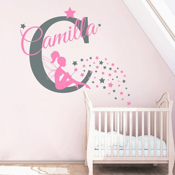 Monogram Wall Decal Custom Name Stickers Fairy Decal By DecalHouse - Monogram wall decal for nursery