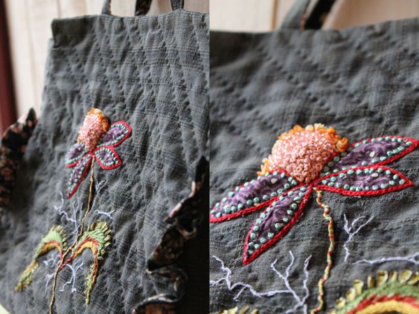 boiled wool bag with embroiary