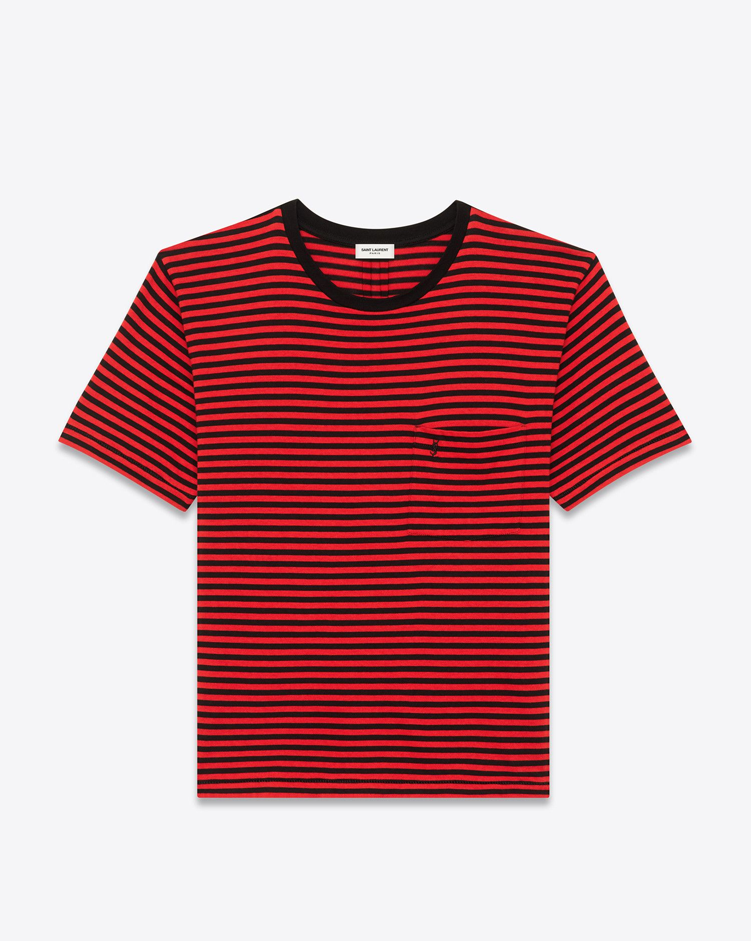 d7f51aaaf68e Saint Laurent YSL Short Sleeve T Shirt In Black And Red Striped Cotton  Jersey 290 EUR.