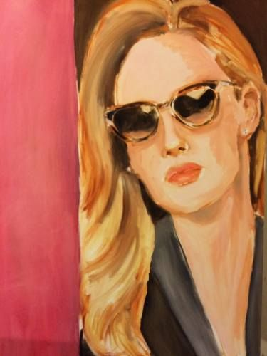 "Saatchi Art Artist Leslie Singer; Painting, ""Sunglasses - Cartier"" #art #fashionillustration #figurativeart #portraiture #sunglasses #cartier"