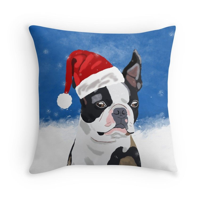 Surprising Boston Terrier Dog In Snow Christmas Happy Holidays Throw Cjindustries Chair Design For Home Cjindustriesco