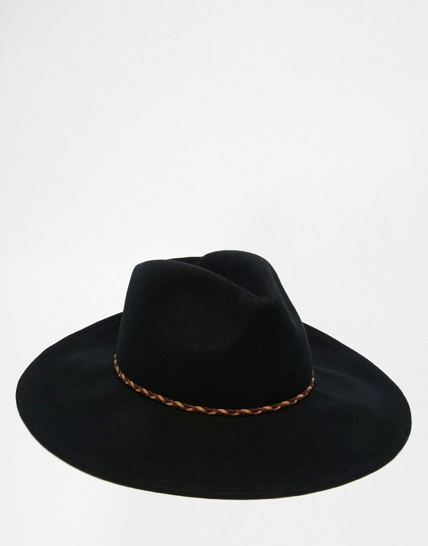 ASOS+Wide+Brim+Fedora+Hat+In+Black+Felt+With+Plait+Band  2bf174d48002