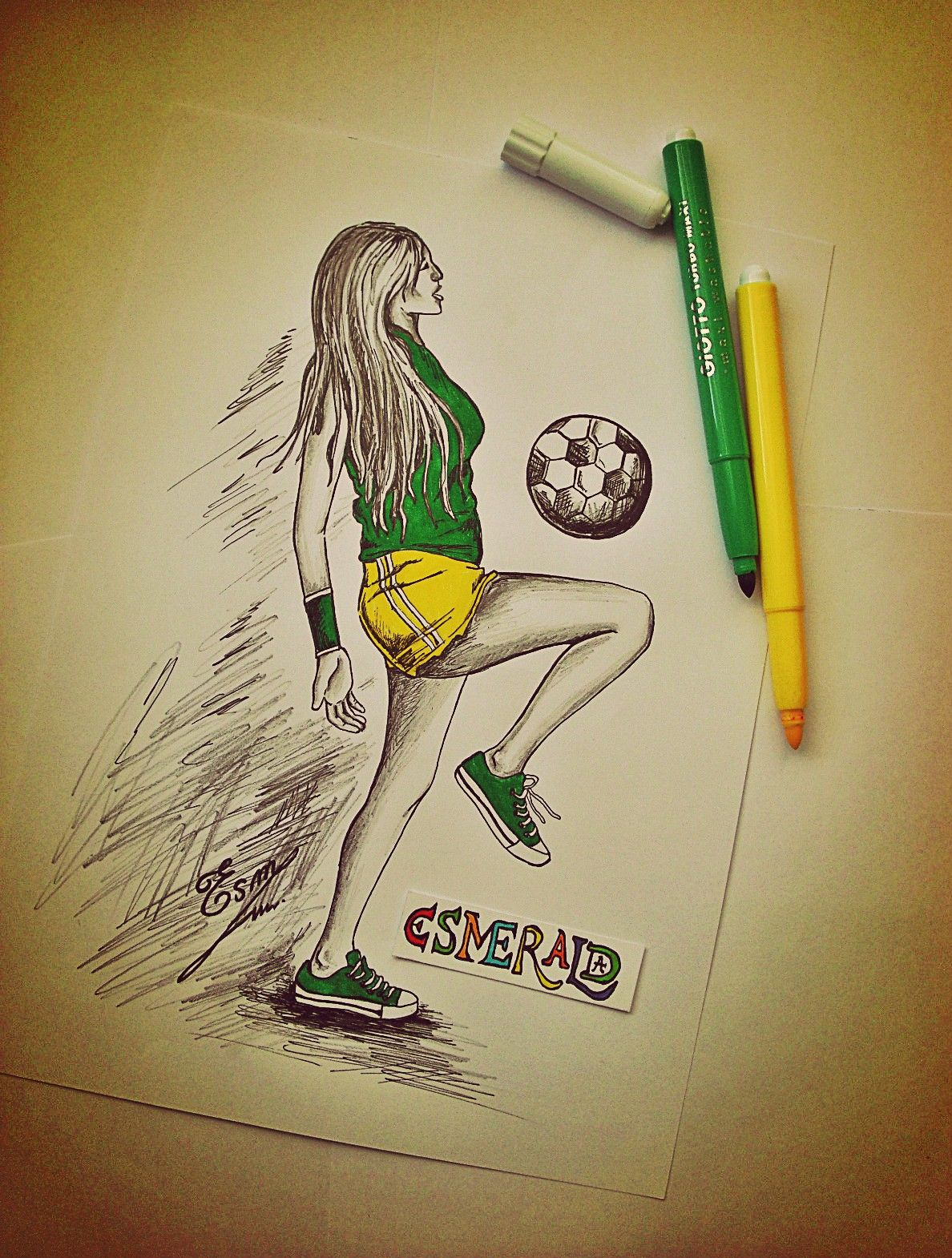 It is a picture of Nerdy Girl Playing Soccer Drawing