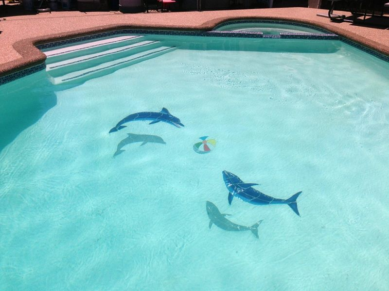 Down Swimming Dolphin | Swimming pool mosaics, Swimming ...