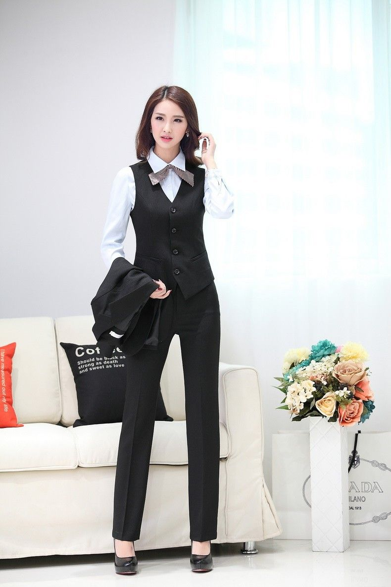 Aliexpress.com   Buy Elegant 2015 Womens Business Suit Formal Office Suit 3  PCS Set Women`s Blazer Jacekt Coat+ Vest + Pants Office Uniform Design from  ... 0c12841833a