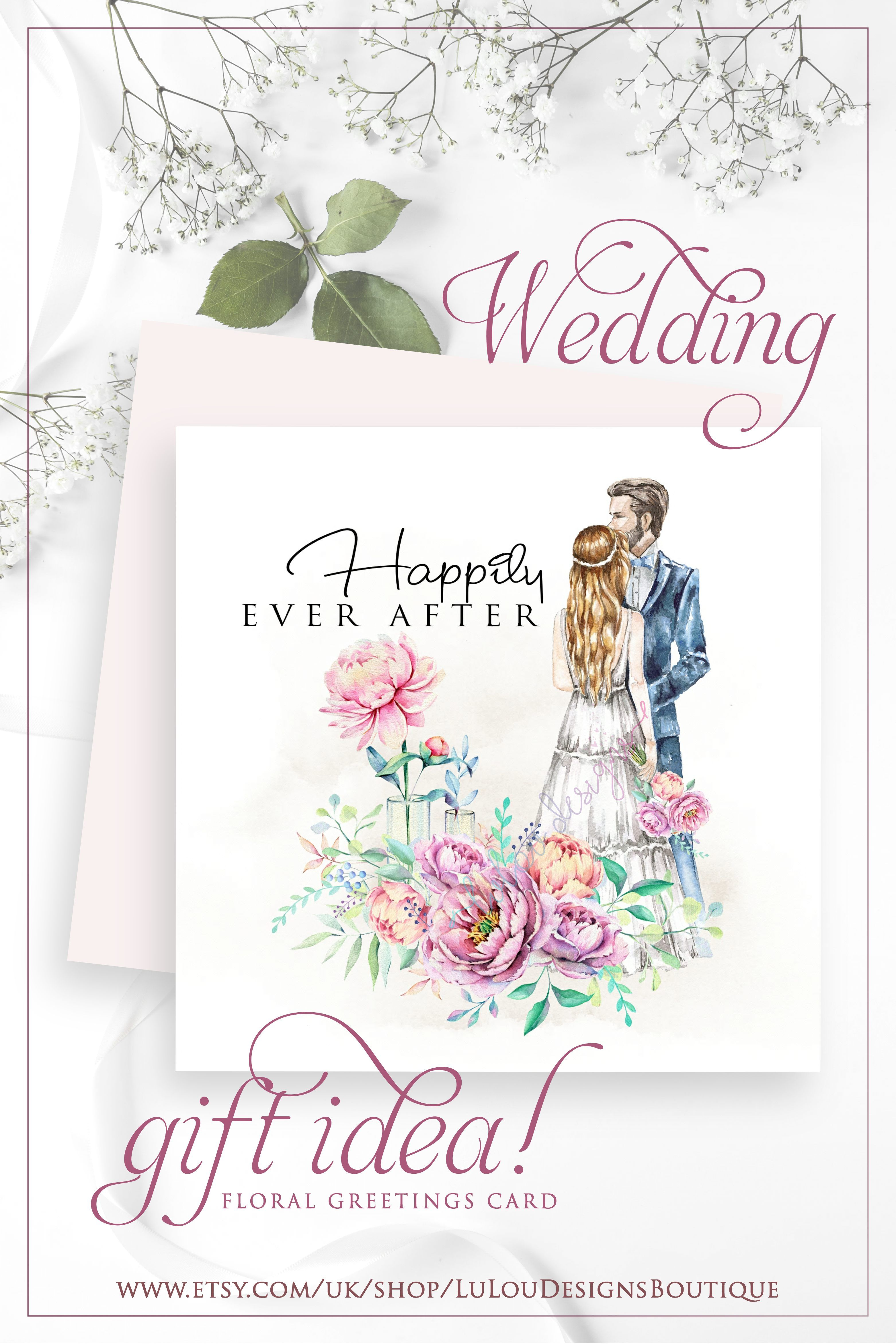 Floral Wedding Gift Card With Married Couple Special Gift For Etsy In 2020 Wedding Gift Cards Wedding Gifts Bride Gifts