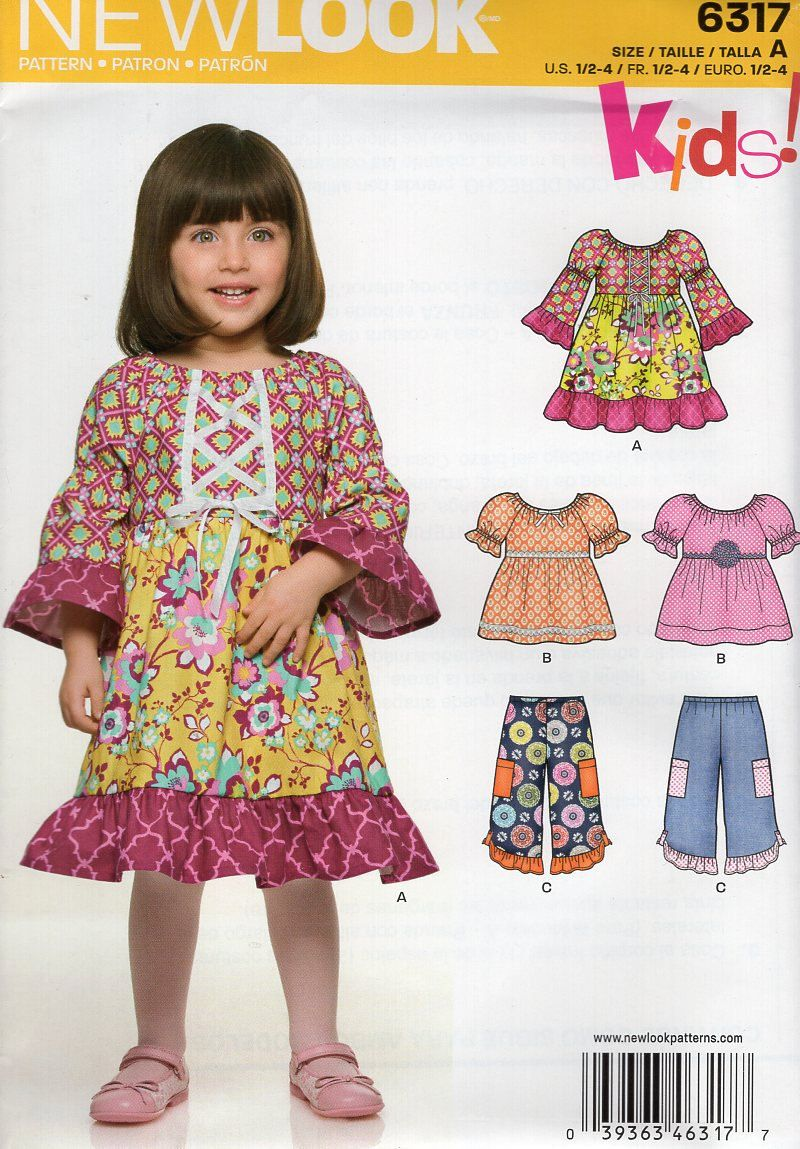 New Look 6317 Kids Sewing Pattern Free Us Ship Girl's