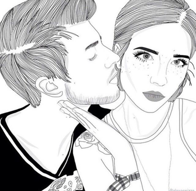 E M I L Y Couple Drawings Tumblr Outline Outline Art
