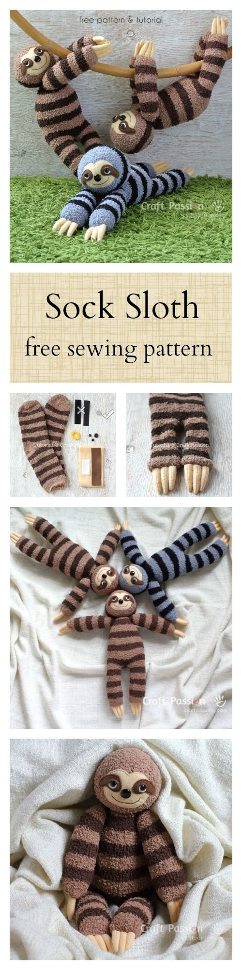 Sock Sloth Plushie - Free Sewing Pattern | couture | Pinterest ...