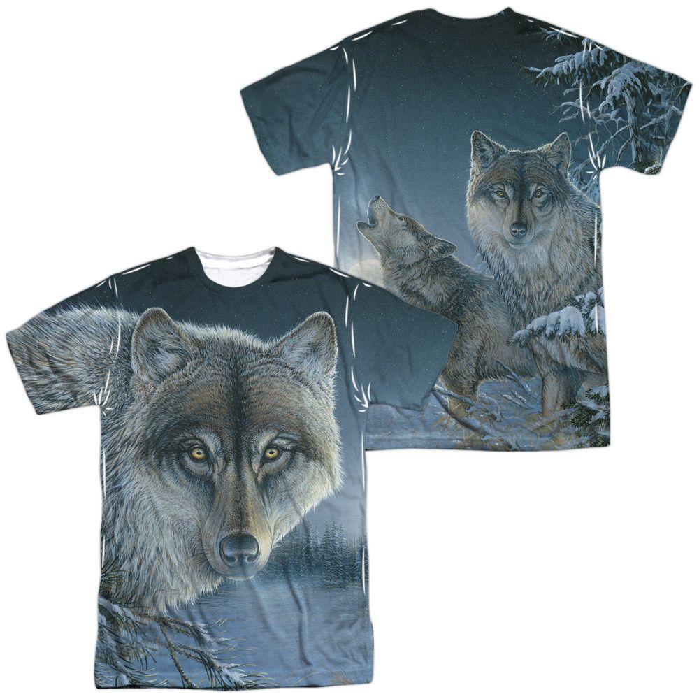 Frauen T Shirt in orange Wolf Tier-/&Naturmotiv Modell Two Wolves Moon