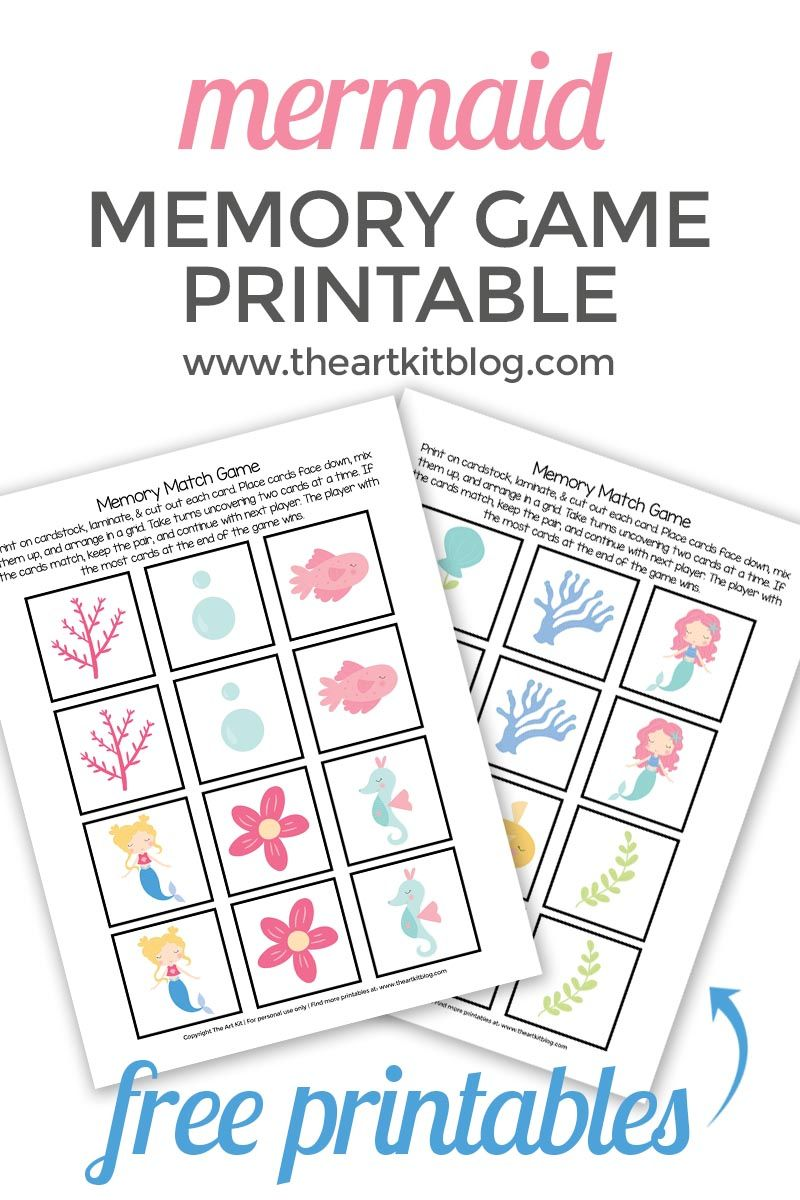 Mermaid Memory Match Game {Free Printable} Memory match