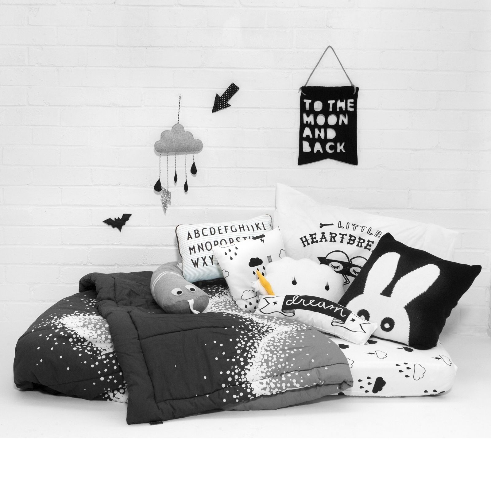 We finally got around to doing a few photos in our (not so) new space yesterday! We are hoping to bring you lots more in the coming weeks and months. For now here are some of our favourite monochrome bedding and cushion products. We are loving the new medium size ricestorm clouds from Noodoll! #thismodernlife #noodoll #normanncopenhagen #moonandback #velveteenbabies #miniwilla #designletters #tobiasandthebear