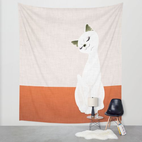 cat doll Wall Tapestry by SEVENTRAPS | Society6