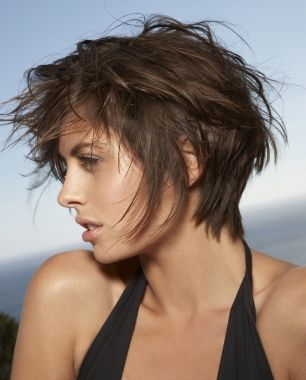 A short brown straight choppy Rock-Chick hairstyle by Franck Provost