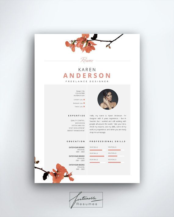 Resume Template 3 Page Cv Template Cover By Fortunelleresumes Resume Design Creative Cv Cv Template