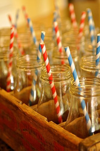 Milk bottles is a fun drink idea for your guests at a graduation party