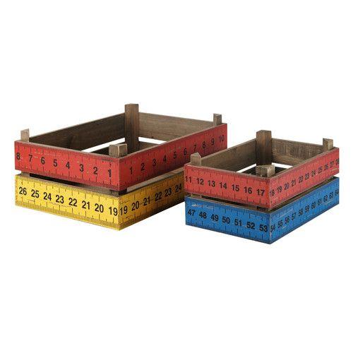 Conjunto de 2 cajas de madera School