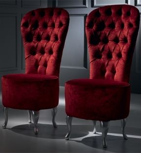 Diva Collection High Back Tub Chair, Shown In Silver Leaf Finish With  Velvet Button Upholstered