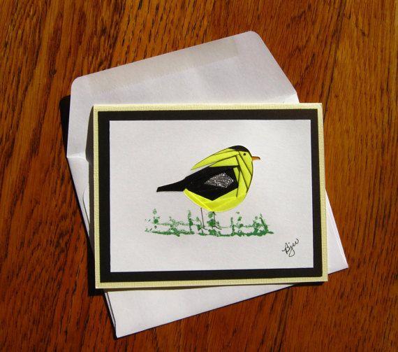Homemade Iris Fold Little Yellow Bird (Gold Finch) Note Card, Blank