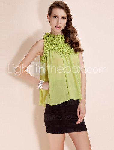 TS Loose Layered Chiffon Blouse Shirt; light green, cute